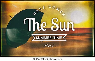 Here comes the sun summer time, vintage poster