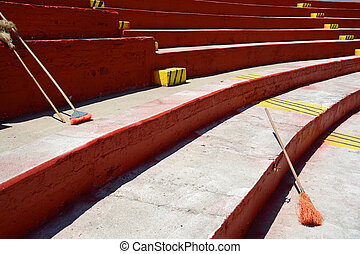 cleaning Mexican sports stadium