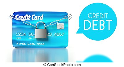 Credit debt, card with padlock and chain