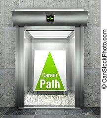 Career path. Modern elevator with open door - Career path...