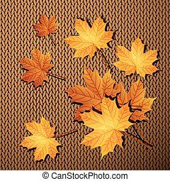 Autumn leaves on a knit background