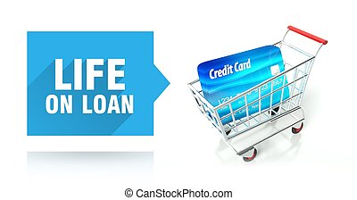 Life on loan. credit card and shopping cart