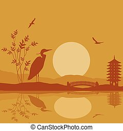Heron silhouette on river at beautiful asian place on...