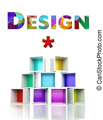 Creative design with colorful 3d illustration