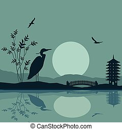 Heron silhouette on river at beautiful asian place on blue,...