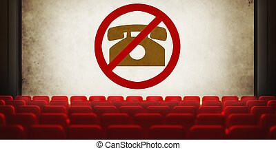 Please turn off cell phones symbol on screen in old cinema -...