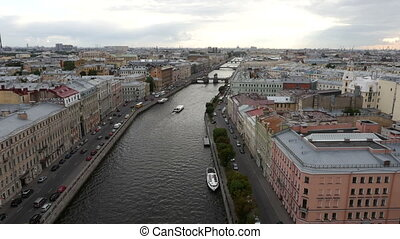 View of historic centre of St Petersburg, Russia - Aerial...