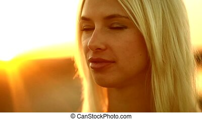 Young portrait girl seductive sexy woman smiling at sunset...