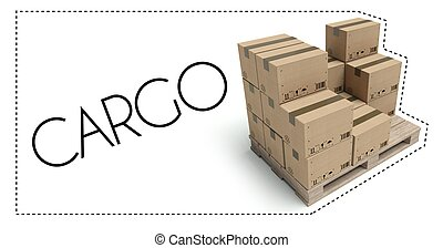 Transportation, Cargo pallet with cardboard boxes