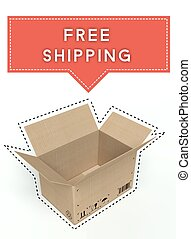 Free shipping concept open cardboard box