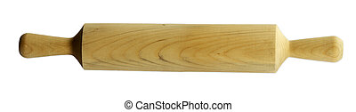 Rolling pin on plain white background