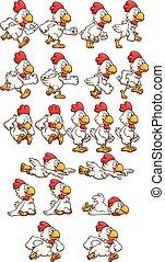 Running chicken sprites. Vector clip art illustration with...
