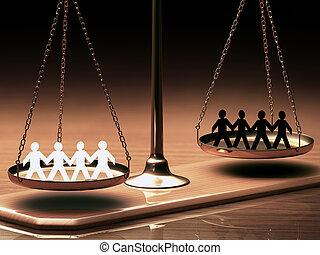 Equality Of Races - Scales of justice equaling races without...