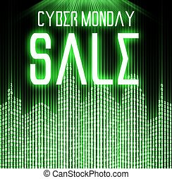 Cyber monday sale with matrix binary code technology...