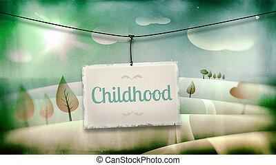 Childhood, vintage children illustration with landscape -...