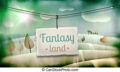 Fantasy land, vintage children illustration