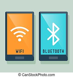 Smart Phone Wifi And Bluetooth Icon - Smart phone WiFi and...
