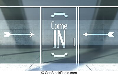 Come in sign, shopfront door - Come in sign on shopfront...