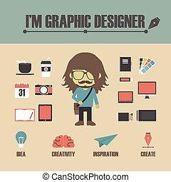 set of graphic designer equipment, retro style