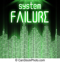 System failure with cyber binary code background - System...