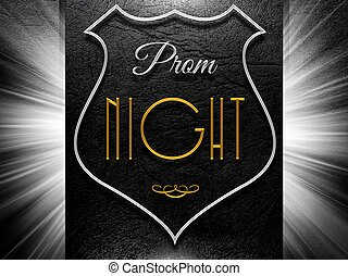 Prom night sign on black leather background