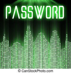 Password with cyber binary code background - Password with...