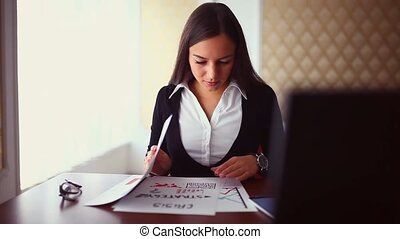 businessman woman freelance sitting in cafe girl working...
