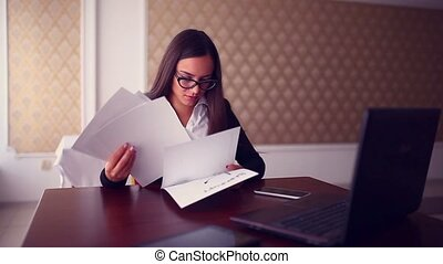 businessman woman working on a laptop in a cafe Business...