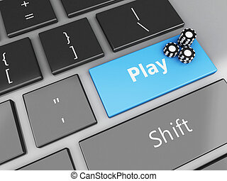 3d Casino Chips on the computer keyboard