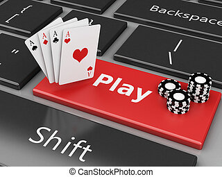 3d Casino Chips and cards on the computer keyboard