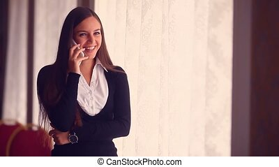 businessman cafe working woman on a laptop in a Business...