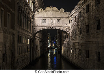 Bridge of Sighs at night Venice Italy