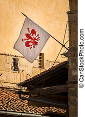Flag of Florence - In the picture the flag of Florence, with...