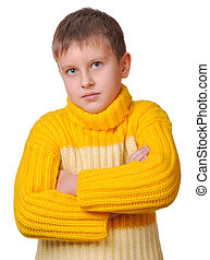 Smiling boy in yellow striped sweater