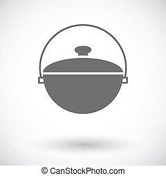Pot icon - Pot. Single flat icon on white background. Vector...