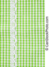 Greeen and white tablecloth italian style with white lace...