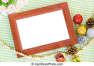 Wooden photo frame and christmas decoration with flower -...