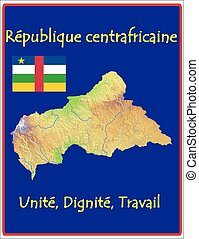 Central African Republic motto - Country map flag motto