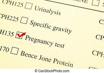 Check mark Medical form request Pregnancy test - Check mark...