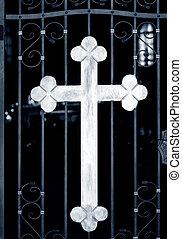 Church doors - Old metal church doors with big iron cross