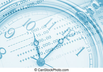 Clock face and book bank statement Business concept