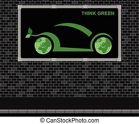 Car advertising board - Advertising board on brick wall...
