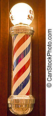 Lighted Barber Pole - A traditional barber pole with a light...