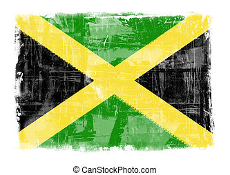 Flag of Jamaica - Computer designed highly detailed grunge...