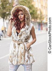 Beautiful Fashion Woman In Fur Coat
