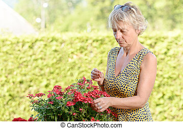 a middle-aged woman with a flowering plant in the garden