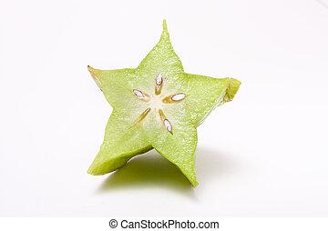 Star Fruit - Unripe Asian Star Fruit isolated against white...