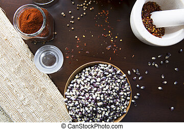 Popcorn and Hot Spices - Blue corn popcorn, crushed red...