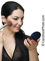 Beauty woman blushing in mirror - Beauty brunette woman...