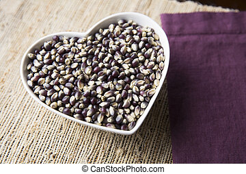 Blue Corn Heart - Blue corn popcorn in heart shaped bowl